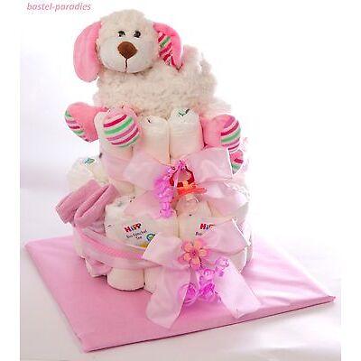Windeltorte *Baby Mädchen* Wärmekissen Tierfigur Hund Taufe Geburt Mitbringsel