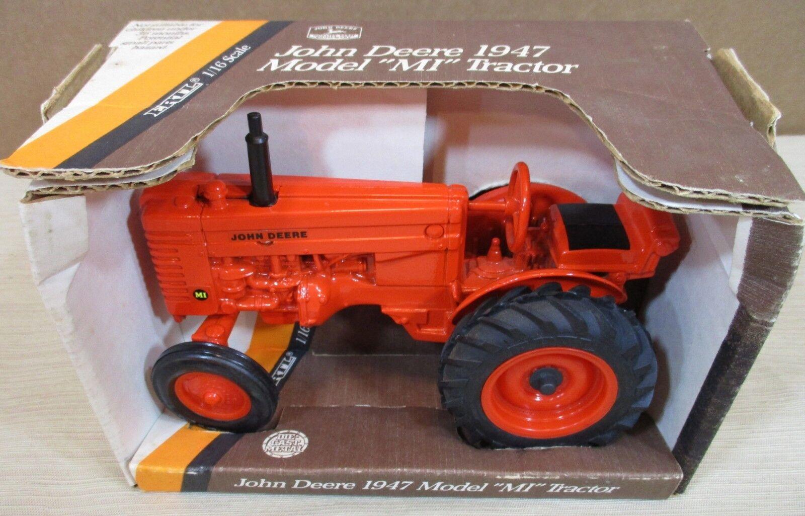 """John Deere """"1947 Model MI"""" Farm Tractor arancia Die-Cast Metal 1 16 Made USA NEW"""