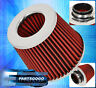 "3"" EURO WASHABLE DRY CONE HIGH PERFORMANCE RACING COLD AIR FILTER VW CHROME RED"