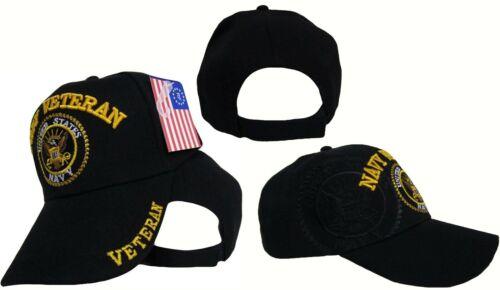 Navy Black US Navy Veteran Shadow Embroidered Ball Cap Baseball Cap Hat U.S