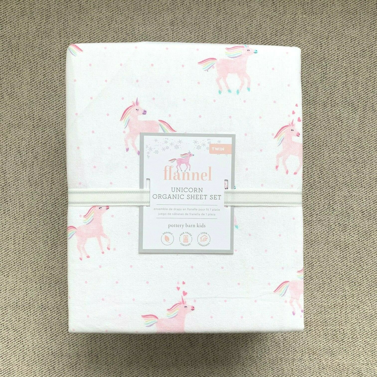 Pottery Barn Kids Organic Flannel Rainbow Unicorn Twin Sheet Set Pink Horse For Sale Online Ebay