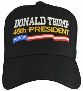 e267d6acad170 Image is loading Donald-Trump-45th-President-Embroidered-Black-Hat-Baseball-