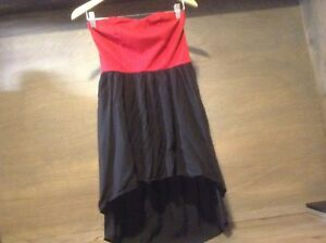Wet-Seal-Women-s-High-Low-Strapless-Dress-Semi-Backless-Size-Medium-RED-BLACK