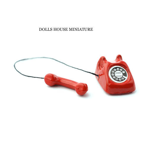 Dolls house Miniature Rotary Telephone in Red Accessory 1//12 Scale Phone