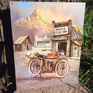 TED-BLAYLOCK-NAVAJO-CYCLE-SHOP-Tractor-Tin-Metal-Sign-Wall-Garage-Classic
