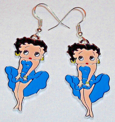 Betty Boop Blue Earrings Marilyn Pose Handcrafted Free Shipping within the USA