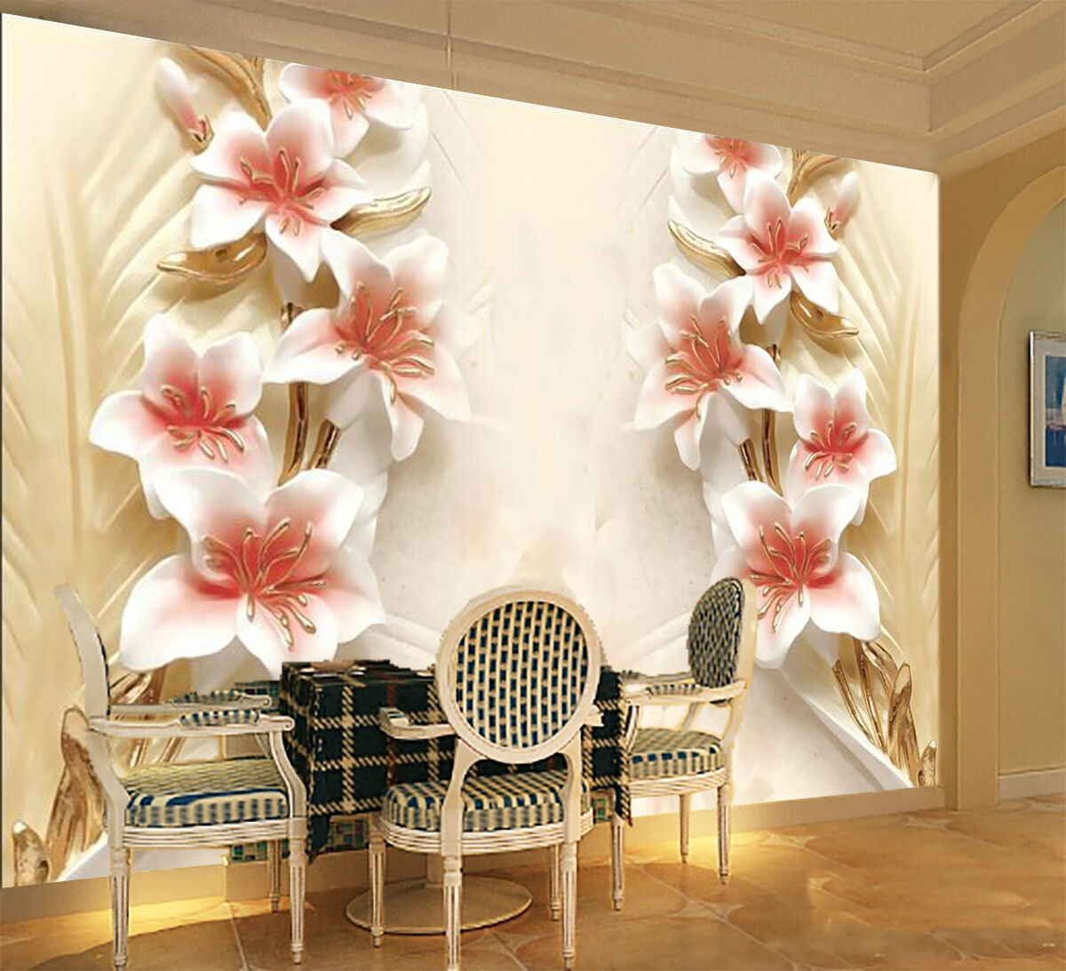 3D Flower carving bloom Wall Paper wall Print Decal Wall Deco Indoor wall Mural
