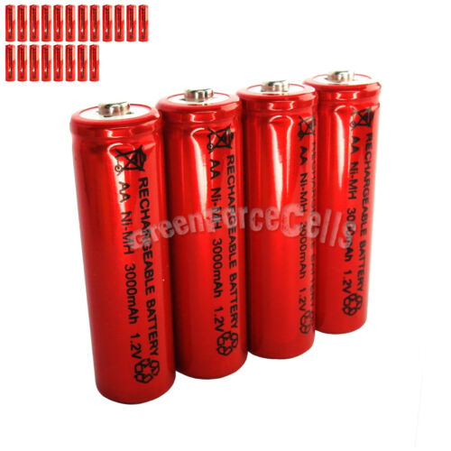 20 PIÈCES AA LR06 3000mAh 1.2V Ni-Mh Pile Rechargeable//RC MP3 2 A Rouge Argent