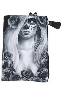 Liquor-Brand-Cosmetic-Bag-Love-Sugar-Skull-Lady-and-Roses-makeup-purse