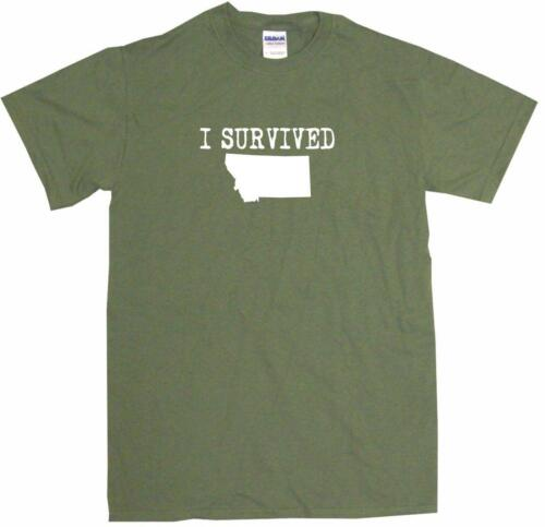 I Survived Montana Silhouette Mens Tee Shirt Pick Size Color Small-6XL