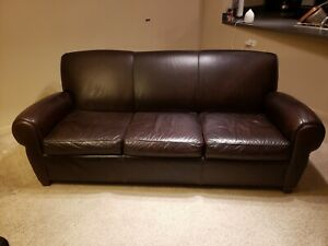 Pottery Barn Manhattan Leather Sofa Color Espresso Ebay