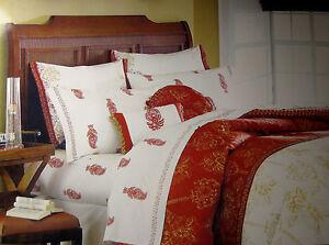 Queen Jaclyn Smith Zanzibar Red Gold Cream Bedskirt
