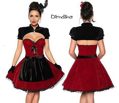 Mini Dirndl Set 4-tlg Oktoberfest Kostüm Kleid Petticoat Corsage Schürze