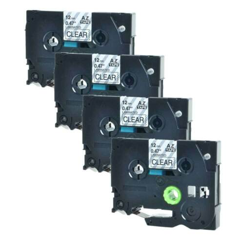 4PK 12mm Label tape For Brother P-TOUCH TZ-131 TZe-131 Black on Clear 26.2ft