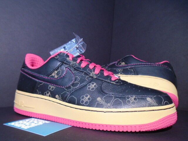 2007 Nike Air FORCE 1 PREMIUM '07 BLACK CERISE PINK gold FLORAL 315180-001 DS 11