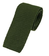 Men's Plain Olive Green Wool Knitted Tie (U102/30)