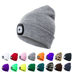 1d9bd9c6c33 USB Rechargeable 4 LED Beanie Knit Unisex Hat Cap For Climbinf ...