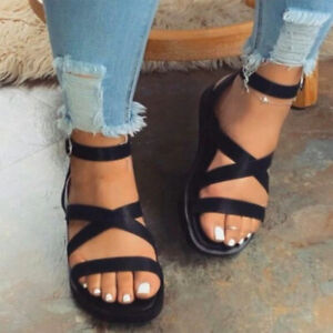 Details about  /Womens Ankle Strap Open Toe Gladiator Sandals Casual Buckle Summer Flats Shoes