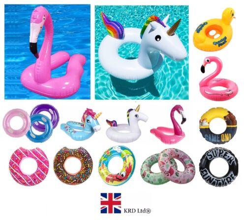 PISCINA Gonfiabile Nuotare Galleggianti Anelli ZATTERA Nuoto Bambini Giocattolo Acqua Sport Spiaggia UK