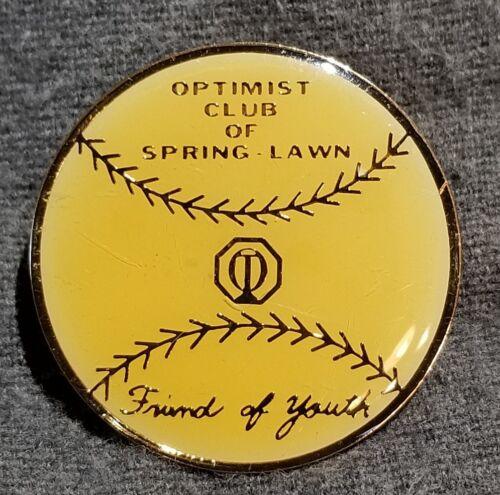LMH Pin Pinback OPTIMIST CLUB Int/'l SPRING LAWN Friend Youth Baseball Softball