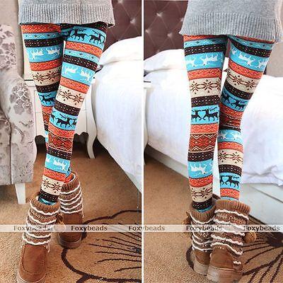 1X Winter Warm Lady Xmas Snowflake Reindeer Knitted Pants Trousers Leggings Gift