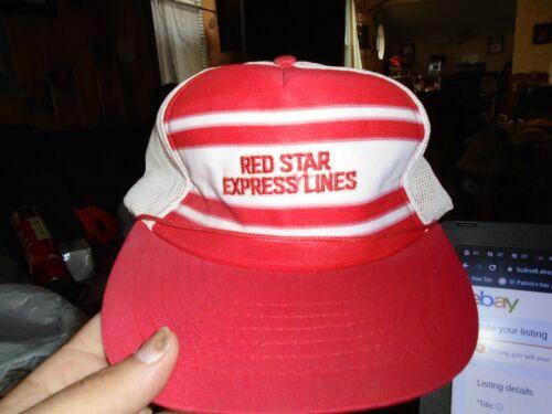 Vintage  STRIPED Trucker Hat Snapback Mesh Red Sta