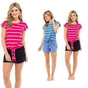 Ladies-Tie-Front-Yarn-Dye-Cotton-Jersey-Stripe-Top-T-Shirt-Pink-Blue-Sizes-8-22