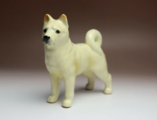 """Details about  /Cream Shiba Inu 6/"""" Long Small Porcelain White Dog Figurine Standing New Japan"""