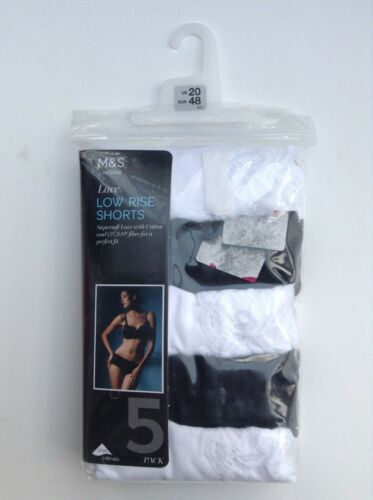 UK 20-22 NEW 5 Pack -BLACK+WHITE Ladies M/&S Lace low rise shorts//knickers