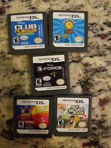 NINTENDO-DS-GREAT-DINOSAUR-RESCUE-KUNG-ZHU-CLUB-PENGUIN-SMILEY-WORLD-ISLAND