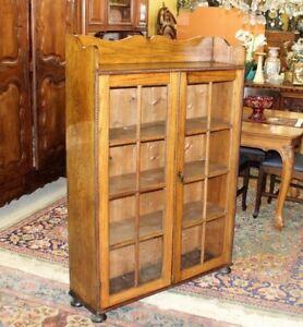 Details about Antique Oak Arts & Crafts Bookcase / Display Cabinet   Living  Room Furniture
