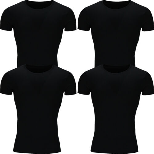 New Mens T Shirt Cotton Slim Fit Muscle Top Short Sleeve Plain Crew Neck Summer
