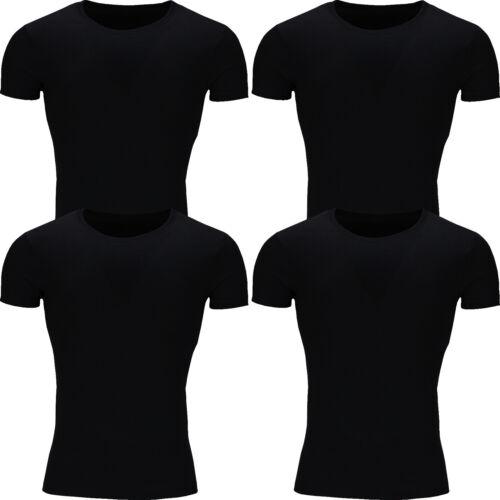 New Mens T Shirt Cotton Slim Fit Muscle Top Short Sleeve Plain Crew Neck Summer