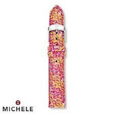 New Authentic Michele 18mm Yellow Multi Pink Leather Watch Band, Pouch! NWT $120