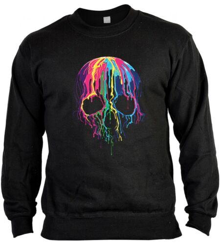 Melting Skull Sweatshirt Geschenk Totenkopf Schädel Pullover Neon Sweater