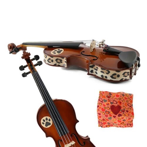 Violin not included Heart Rosin w//Cheetah Violin Skins Fits 1//32 Size