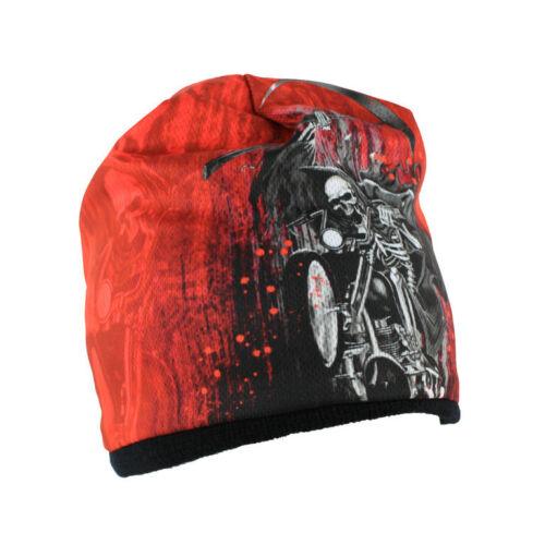 Biker Chopper DEATH RIDER MIETITRICE SKULL Reaper Beanie Berretto Invernale Sci Cappello