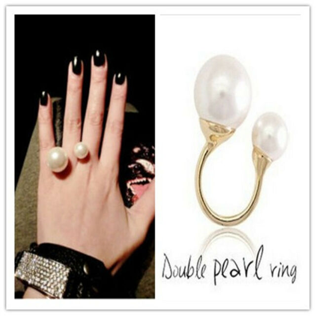 Korean Fashion U -shaped Opening Adjustable Double Pearls Rhinestone Gold Ring