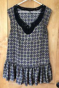 Free-People-Tunic-Dress-Beaded-Boho-Chic-Lace-Medium-10