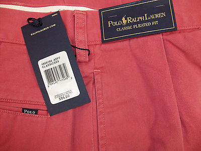 Polo Ralph Lauren Pleated Front Classic Fit Chino Twill Khakis Pants $85 RED NWT
