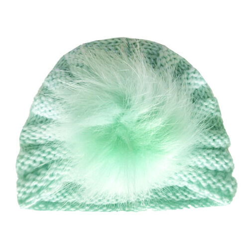 Newborn Baby Headband Fur Ball Knitted Turban Pom Hat Kids Winter Beanie Cap