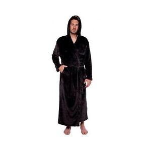 a473faf10d Men s Black Hooded Bathrobe 3XL Soft Plush Full Length 59
