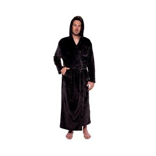 Details about Men s Black Hooded Bathrobe Small Medium Soft Thick Plush Spa  Robe Pool S M fb1b1b916