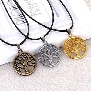 Men-Women-Punk-Tree-of-Life-Pendant-Black-Leather-Rope-Necklace-Retro-Jewelry