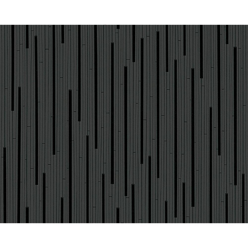 Comme Creation Noir Raye Motif Papier Peint Gaufre Moderne Metalique