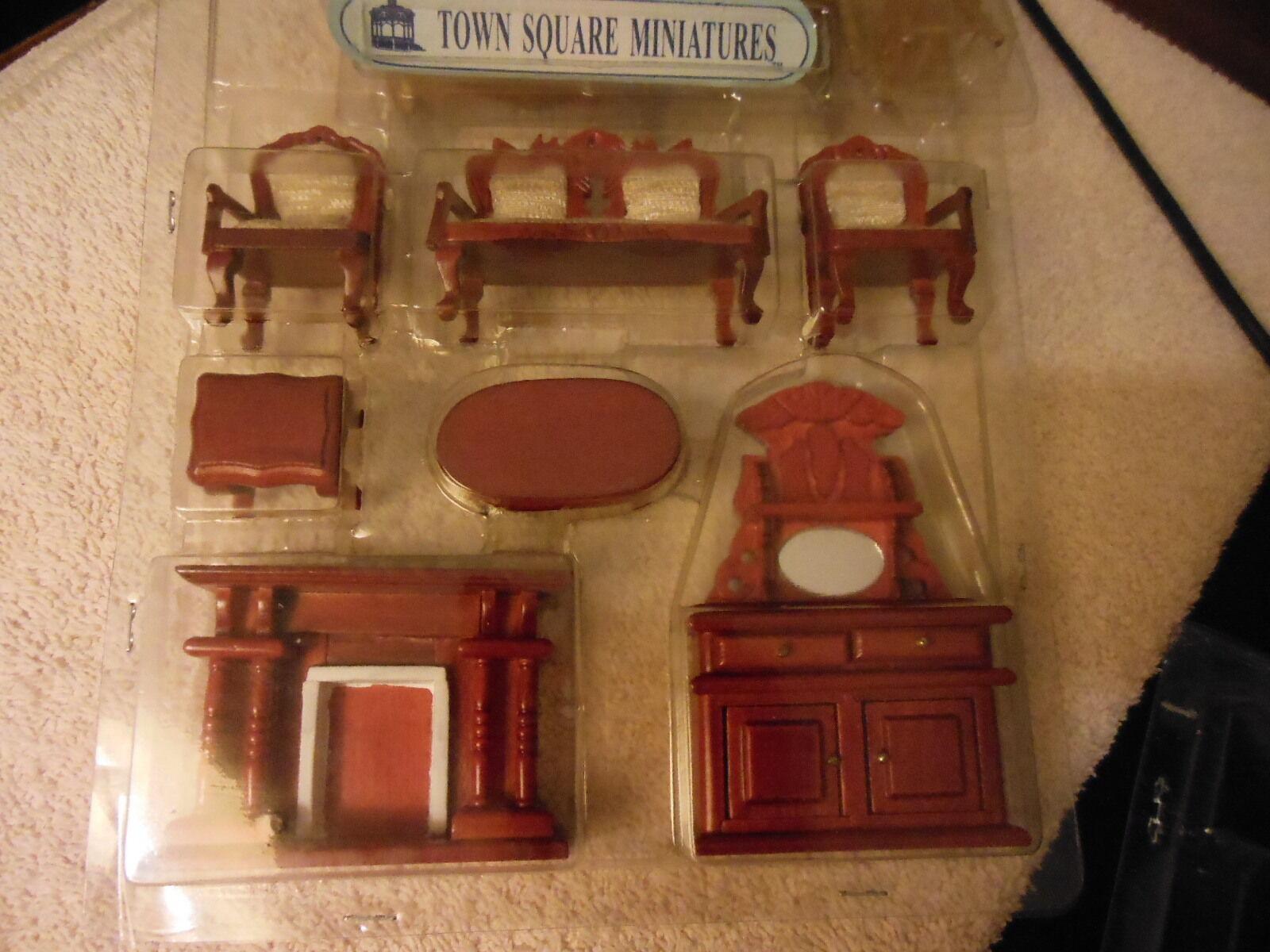 1 2   scale Mah. living  room set of 7 mini doll houses   NRFB   FREE shipping