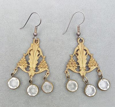 Vintage pierced chandelier earrings JBA stamped brass  Art Nouveau revival
