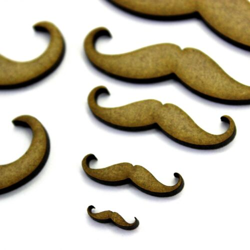 Various Sizes Hipster Moustache Craft Shape 2mm MDF Wood.