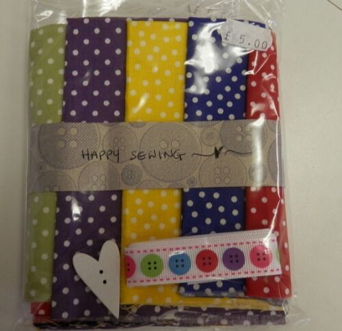 5 Fat Eights 100/% Cotton Cotton Fabric Craft Packs Ribbon /& Button