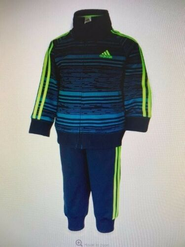 ADIDAS NWT 2PC Boy Jacket Zip Top Pants Track Suit DNA Warm Up Blue 3 6 9 12 24